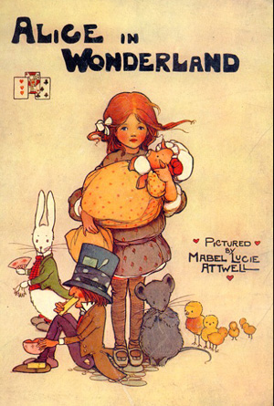 Alice in Wonderland by Lewis Carroll - Brown Book Cover Design