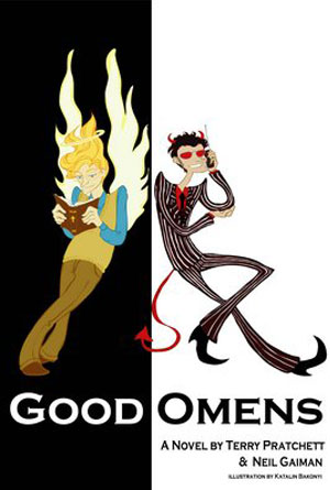Good Omens by Terry Pratchett and Neil Gaiman - Humor Book Cover Designs