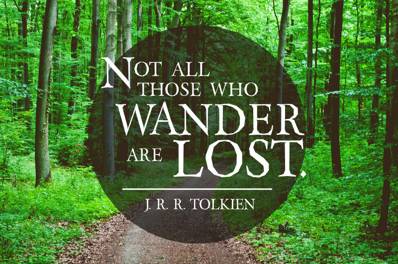 Not all those who wander are lost.  -J. R. R. Tolkien -Inspirational Reading Quotes