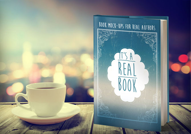 free book mock up- dust jacket book next to cup of coffee