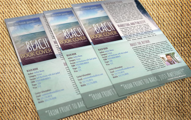 Free Photoshop template of book sell sheet flyer