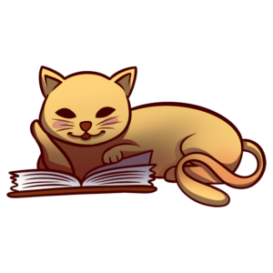 Animals Reading Clipart: cat reading book