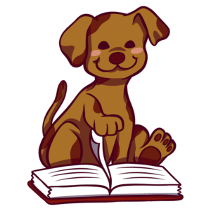 Animals Reading Clipart: dog flipping book page