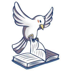 Animals Reading Clipart: bird flipping book page