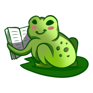 Animals Reading Clipart: frog reading book