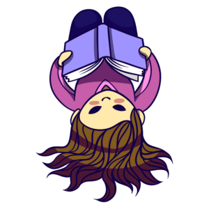 Children Reading Clipart: girl lying down reading