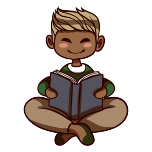 Children Reading Clipart: boy happy reading