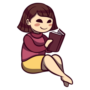 Children Reading Clipart: ladylike girl reading