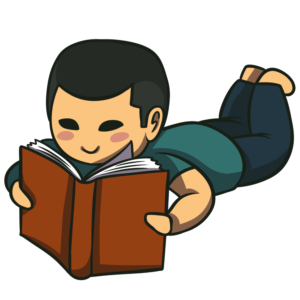 Children Reading Clipart: boy reading lying down