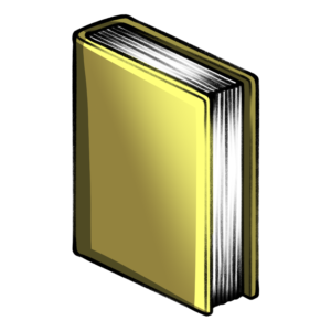 closed book clipart: yellow standing closed book