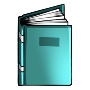 closed book clipart: turquoise standing book