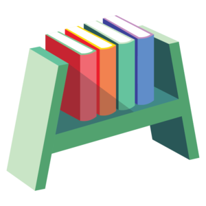 Books on Shelves: pointed shelf with books