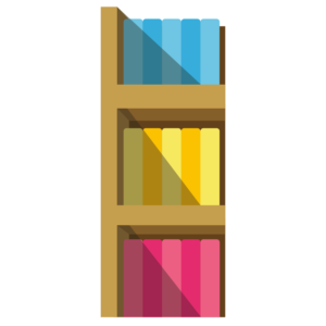 Books on Shelves: 3-layer shelf with books