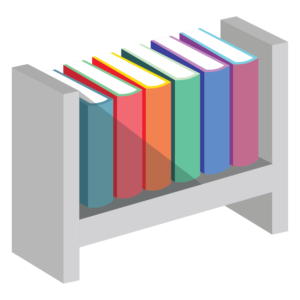 Books on Shelves: steel shelf with books