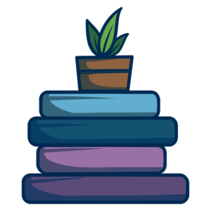 Stacked Book Clipart: books stacked with plant