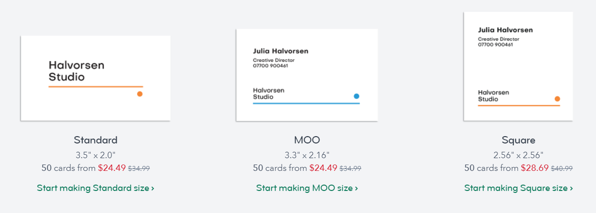 moo business cards pricing